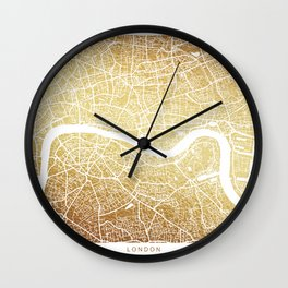 LONDON MAP, gold Wall Clock