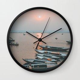 Sunset on the Ganges, Varanasi India Wall Clock