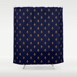 Blue & Gold Fleur-de-Lis Pattern Shower Curtain