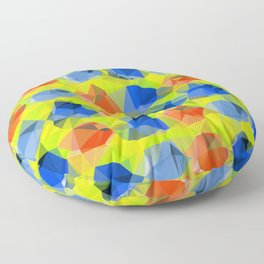 geometric polygon abstract pattern in yellow blue orange Floor Pillow
