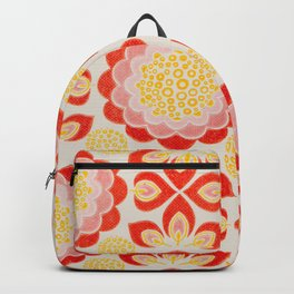 Happy Retro Floral Pattern Backpack