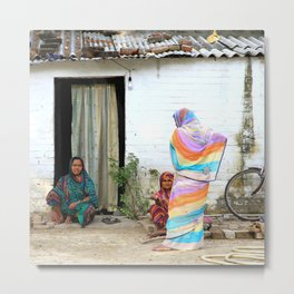 Tradional ladies in front of their house, India   Fine art travel photography Metal Print