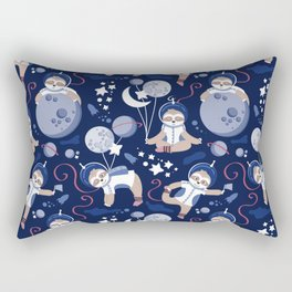 Best Space To Be // navy blue background indigo moons and cute astronauts sloths Rectangular Pillow