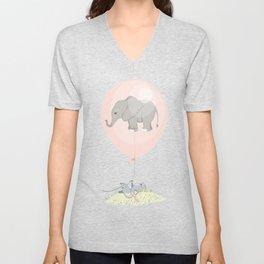 Elephant in a balloon Unisex V-Neck