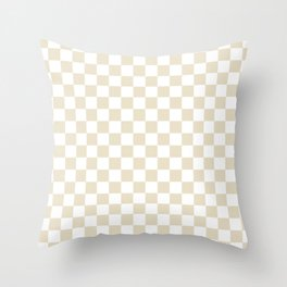 Small Checkered - White and Pearl Brown Throw Pillow