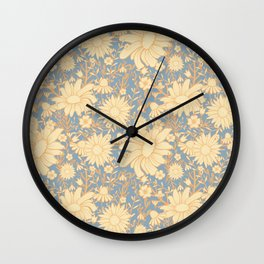 Orange and Blue Wildflower Pattern Wall Clock