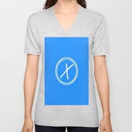 Monogram - Letter X on Dodger Blue Background Unisex V-Neck