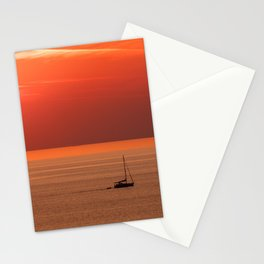 Sun setting creating beautiful sunset scene, Alanya, Turkey Stationery Cards