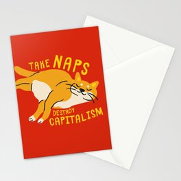 Anti-Capitalist Communist Cat - Take Naps, Destroy Capitalism Red Stationery Cards