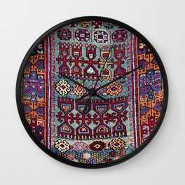 Elazig  Antique Tribal Kurdish Niche Carpet Print Wall Clock