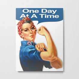 One Day At A Time AA NA Sober Sunrise Tee Tees T-Shirt Rosie The Riveter Metal Print