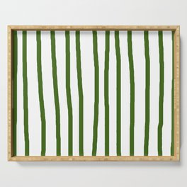 Simply Drawn Vertical Stripes in Jungle Green Serving Tray