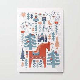 Scandinavian Inspired Folkstory - Red + Blue Metal Print