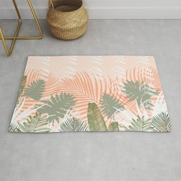 Abstract tropical plants pastel Rug