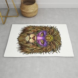 Mardi Gras | Pride Lion With Cute Mask Rug