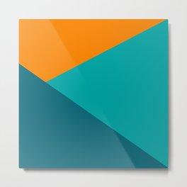 Jag - Minimalist Angled Geometric Color Block in Orange, Teal, and Turquoise Metal Print