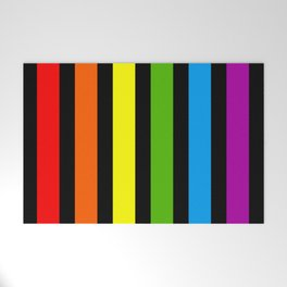 Rainbow & Black colorful stripes Welcome Mat