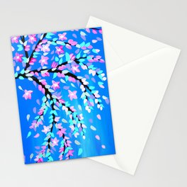 Pink Cherry Blossom and Blue phone case Stationery Cards