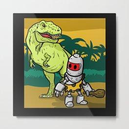 Robot Dinosaur Travel Back In Time Metal Print