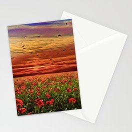 Red Poppy Meadows | Oil Painting Stationery Cards