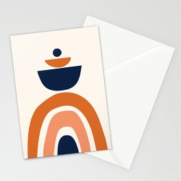 Abstract Shapes 10 in Burnt Orange and Navy Blue Stationery Cards