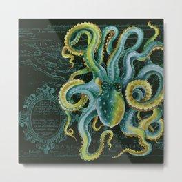Green Octopus Vintage Map Dark Green Metal Print