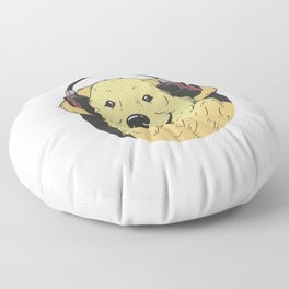 Golden Retriever Headphones Floor Pillow
