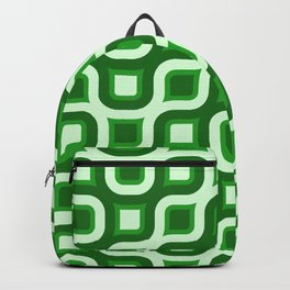 Truchet Modern Abstract Concentric Circle Pattern - Green Backpack
