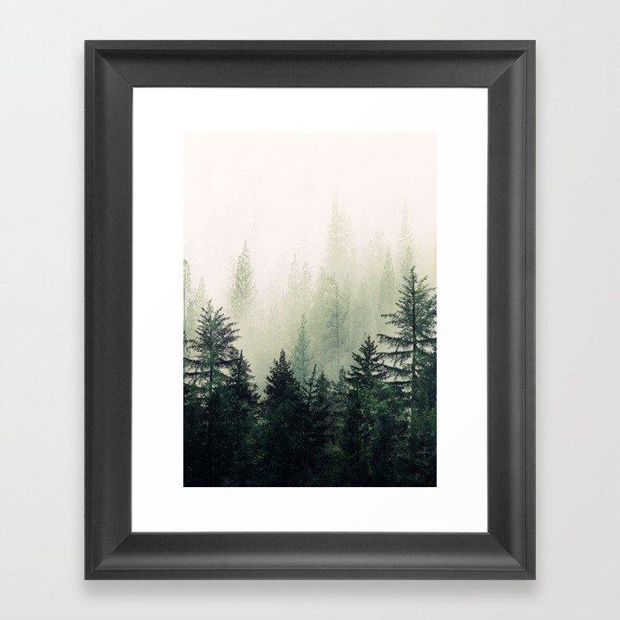 Foggy Pine Trees Gerahmter Kunstdruck