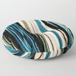 blue turquoise black grey beige pink abstract striped pattern Floor Pillow