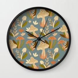Mushroom Forest in Retro  Wall Clock