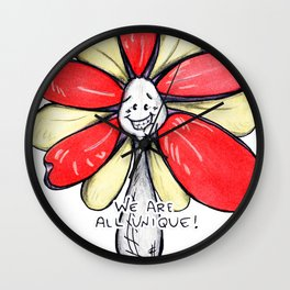 """""""We Are All Unique!"""" Flowerkid Wall Clock"""