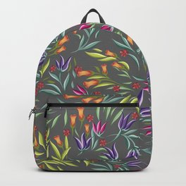 Seamless pattern with different wild flowers Backpack