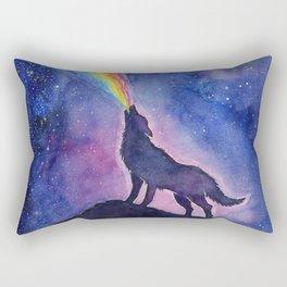 Galaxy Wolf Howling Rainbow Rectangular Pillow