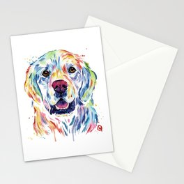 Golden Retriever Watercolor Pet portrait Painting Stationery Cards