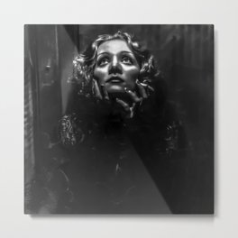 Marlene Dietrtrich black and white photographic portrait Metal Print