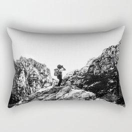 Boys Adventure | Rustic Camping Kid Red Rocks Climbing Explorer Black and White Nursery Photograph Rectangular Pillow