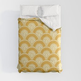 Yellow Mustard Sunshine Abstract Arch Modern Wave Spring Summer Comforters