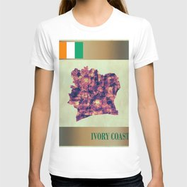 Ivory Coast Map with Flag T-shirt