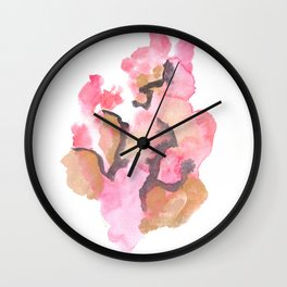 Watercolor Pink Black Gold Flow | [dec-connect] 50. cohesion Wall Clock