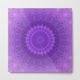 Sunflower Plum Boho Feather Pattern \\ Aesthetic Vintage Bohemian \\ Dark Violet Purple Color Scheme Metal Print