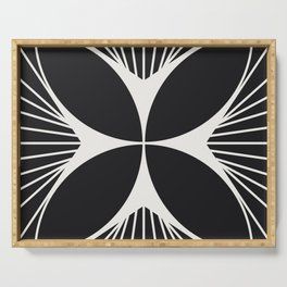 Diamond Series Floral Cross White on Charcoal Serving Tray