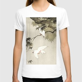 Birds in the rain - Japanese vintage woodblock print T-shirt
