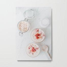 Raspberry Fruits Oats And Milk, Healthy Morning Breakfast, Food Photography Print, Flat Lay Print Metal Print