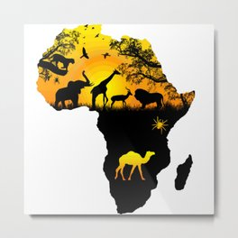 Map of Africa Camel,Giraffe,Elephant,lion,Birds,Spiders,Nature Metal Print