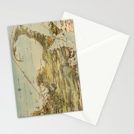 Vintage Cape Cod and NYC Steamboat Route Map Stationery Cards