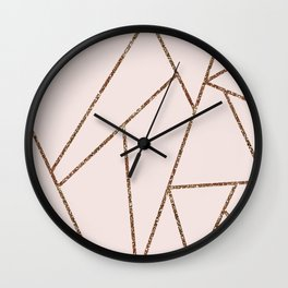 Blush Pink & Rose Gold Geometric Lines Wall Clock