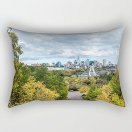 Painting of Warm Autumn Day Over Downtown Edmonton AB During Fall 2019 Rectangular Pillow