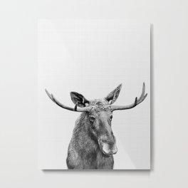 Moose print, Woodland nursery decor, nursery art, animal prints, Forest animals Metal Print