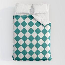 Diamonds - White and Dark Cyan Comforters